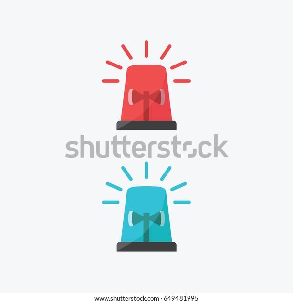 Red Blue Flashing Light Cartoon Police Stock Vector Royalty Free 649481995