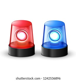 Red blue flashing police beacon alarm. Police light siren emergency equipment. Danger flash ambulance beacon.