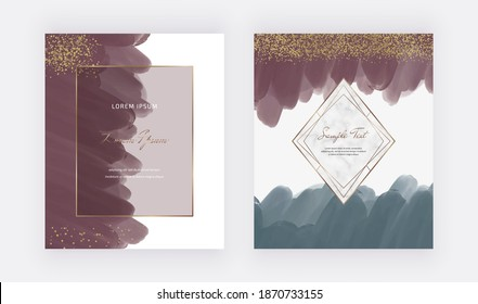 Red and blue freehand watercolor backgrounds for invitation