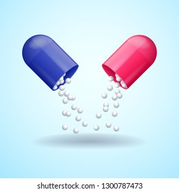 Red and blue full medical pill, broken medicine capsule with molecules, vector illustration