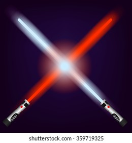 Red and blue future light swords
