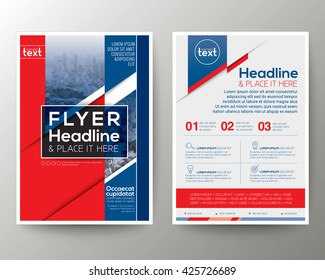 Red and Blue Geometric background Poster Brochure Flyer design Layout vector template in A4 size