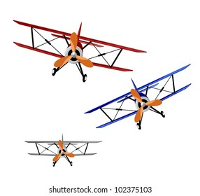 red, blue and gray biplanes on white background - vector illustration