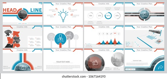 Red, blue, gray,elements for infographics on a white background. The best set of presentation templates. Presentation, leaflet and flyer, corporate report, marketing, advertising, annual report