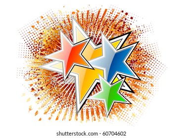red blue green and gold stars
