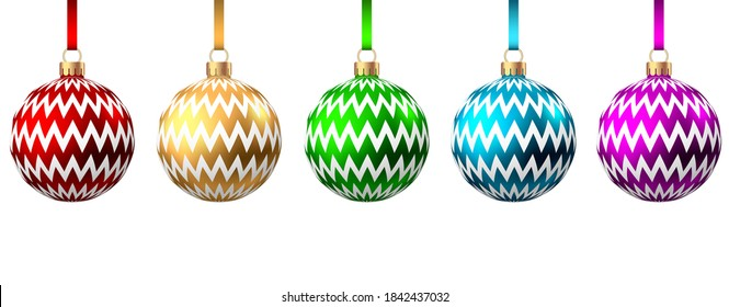 Red, blue, green, golden, purple  Christmas  balls  with pattern  isolated on white background. Xmas  tree decoration. Vector bauble collection.