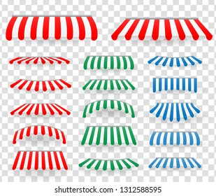 Red, blue and green tent sunshade. Cafe and shop window outdoor awnings set. Striped market sunshade, store summer scallop isolated. Vector illustration