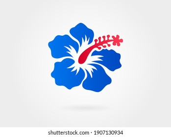 Red with Blue Hibiscus flower on white background. Vector illustration. Can be used for logo, logotype, sticker, web, print and other design.