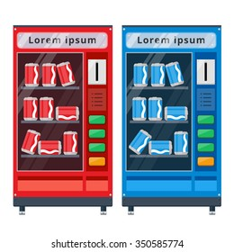 Red and Blue high Soda cans vending machines flat vector illustration on white background
