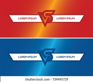 Red and blue horizontal banners with VS letters and text frame. Versus background for game or sport match, competition or tournament.