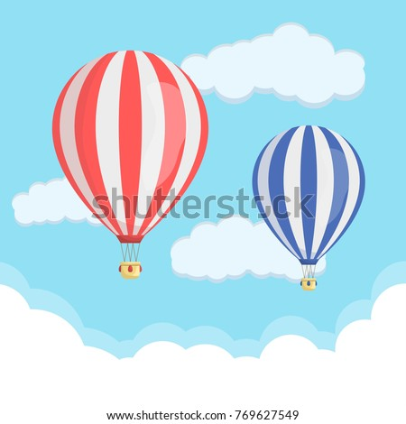 Red Blue Hot Air Balloon Clouds Stock Vector (Royalty Free ...