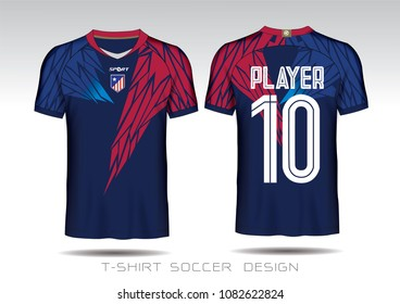 a81833e7ca4 Red and blue layout football sport t-shirt design. Template front