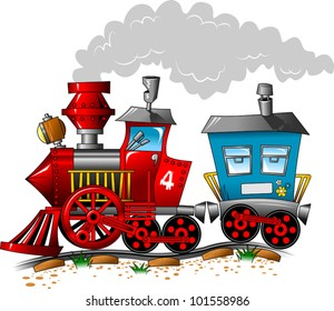 Red and blue locomotive carriage ride by rail (vector illustration);