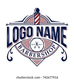 Red and blue navy Vintage retro classic barbershop logo VECTOR