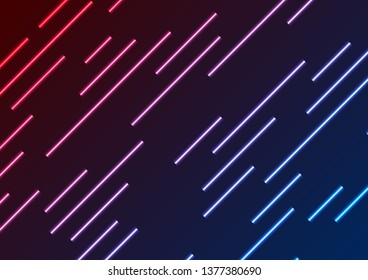 Red and blue neon laser rays abstract technology background. Vector geometry design