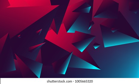 Red blue neon light with a reflection on triangle, gradient vector illustration