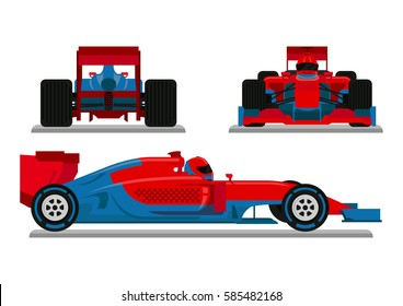 Red Blue Racing Car Vector