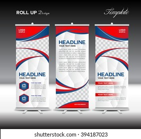 Red and blue Roll Up Banner template vector illustration, standy, display, advertisement, polygon background, business, education, flyer layout