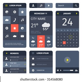 Red and blue set of mobile interface elements on white. Calendar and weather forecast.