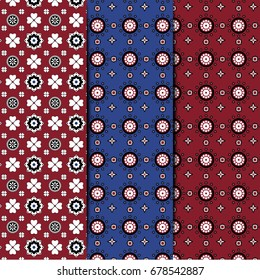 Red and Blue Sindhi Ajrak Pattern Collection, Vector Illustration