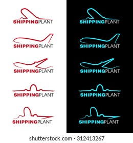 Red and blue sky airplane logo vector design