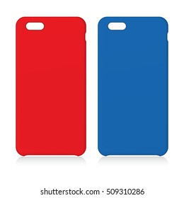 Red and Blue smartphone cases isolated on white. Vector illustration