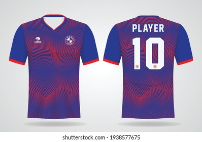 red blue sports jersey template for team uniforms and Soccer t shirt design