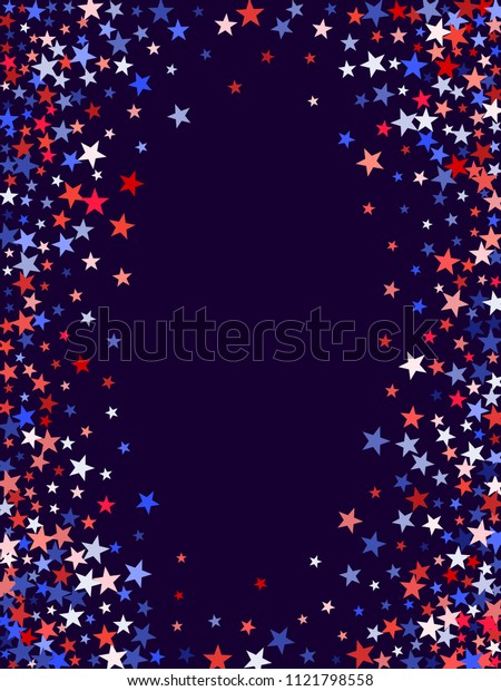 Red and blue stars border frame for American Independence on President Day design. 4th of July background in United States flag colors. Flying stars border in patriotic USA red blue white colors