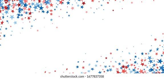 Rote und blaue Sterne Konfetti-Rahmen, weißer Hintergrund, Vektorillustration.