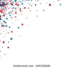 Rote und blaue Sterne links in der oberen Ecke auf weißem Hintergrund.