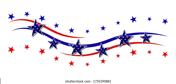 Red and blue stripes with stars. Patriotic banner for USA holidays. Isolated on white background. Vector illustration.