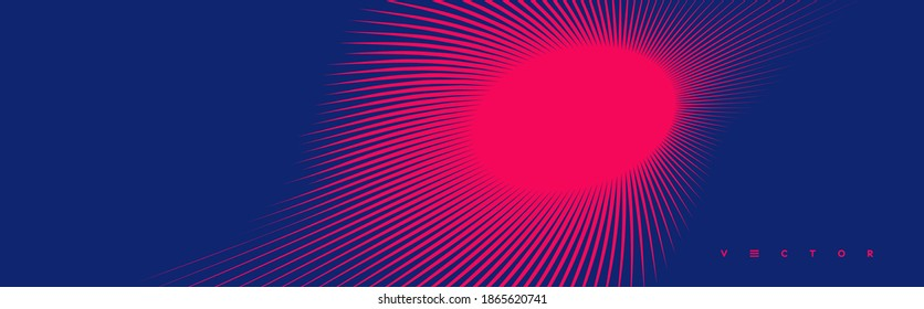 Red and blue sunburst pattern. Sun ray or star burst. Radial lines background. Explosion vector illustration with copy space.