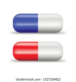 Red and blue tablet capsule on white background, vector