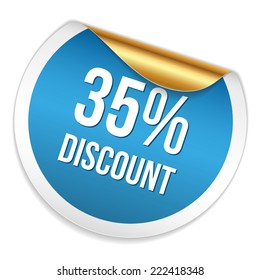 Red blue thirty-five percent discount sticker on white background