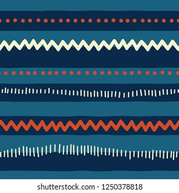 Red and blue tribal doodle pattern. Seamless vector background abstract horizontal lines, zigzag, dots, stripes. Texture for childrens market, boy, kids decor, web banner, fabric, page fill, July 4th.