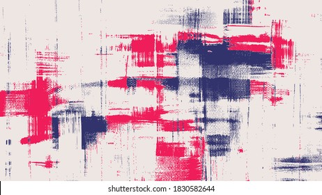 Red and blue vector cross hatching strokes on canvas. Oil, acrylic paint texture set. Abstract grungy backgrounds, light hand drawn messy pattern