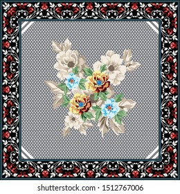 red and blue vector flowers bunches with bandanna pattern