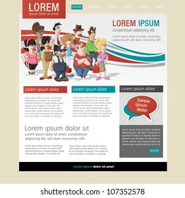 Red and blue website template with cute happy cartoon old people