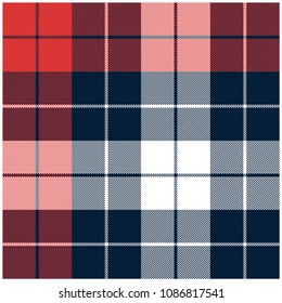 Red Blue and White checkered plaid seamless pattern. Adjustable colors.