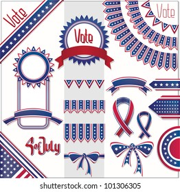 red blue white colors design decoration set. No fonts were used.