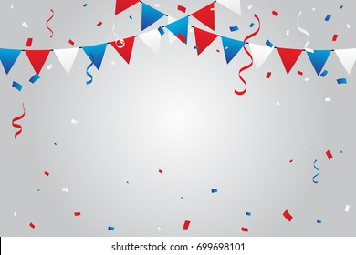 Red And Blue White Confetti And Ribbons Falling On Background. Celebration Event & Birthday. American flag color concept. Vector