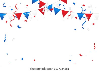 Red And Blue White Confetti And Streamer Ribbon Isolated On Background. Celebration Event & Birthday. American, Chile, Russia, France, United kingdom flags color concept. Vector