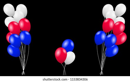 Red, blue and white flying balloons. Vector illustration EPS10