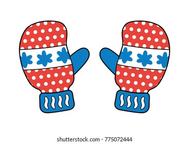 Red blue winter gloves or mittens isolated