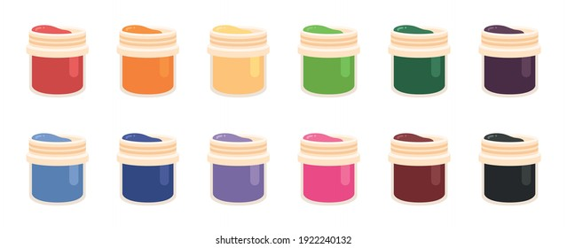 Red, Blue and Yellow Colored Paint Cans. Jars of gouache. Paint. Gouache. Jar. Dye. Acrylic. Flat style vector illustration isolated on white background.