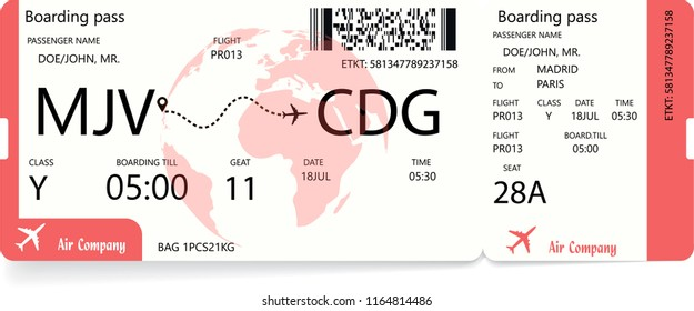Red boarding pass. Airplane ticket isolated on white background. Vector illustration.