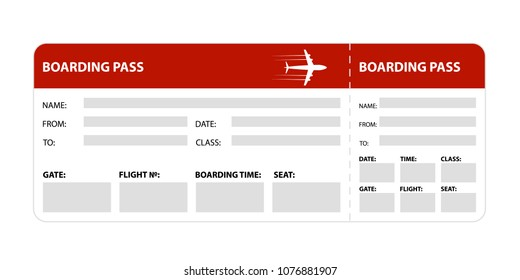Red boarding pass isolated on white background. Vector illustration.