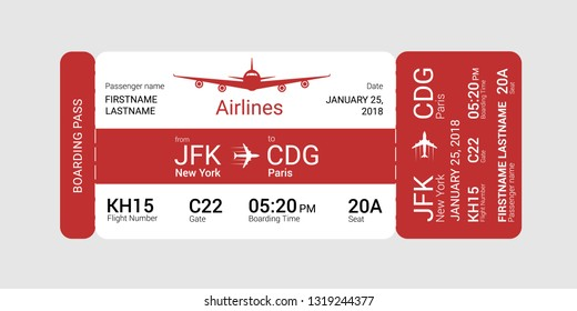 Red boarding pass isolated on a gray background. Vector illustration.