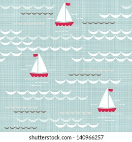 red boats on blue brown beige white sea with delicate waves  summer holiday seamless pattern on blue patterned background