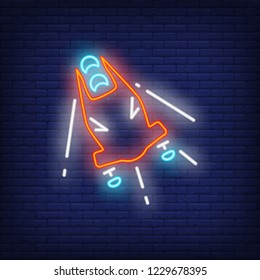 Red bobsleigh neon sign. Glowing bob with sport team on dark blue brick background. Can be used for sport, winter games, Olympic